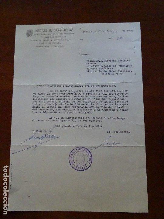 FRANQUISMO, FELICITACIÓN JUNTA PUERTO MÁLAGA (Coleccionismo - Documentos - Manuscritos)