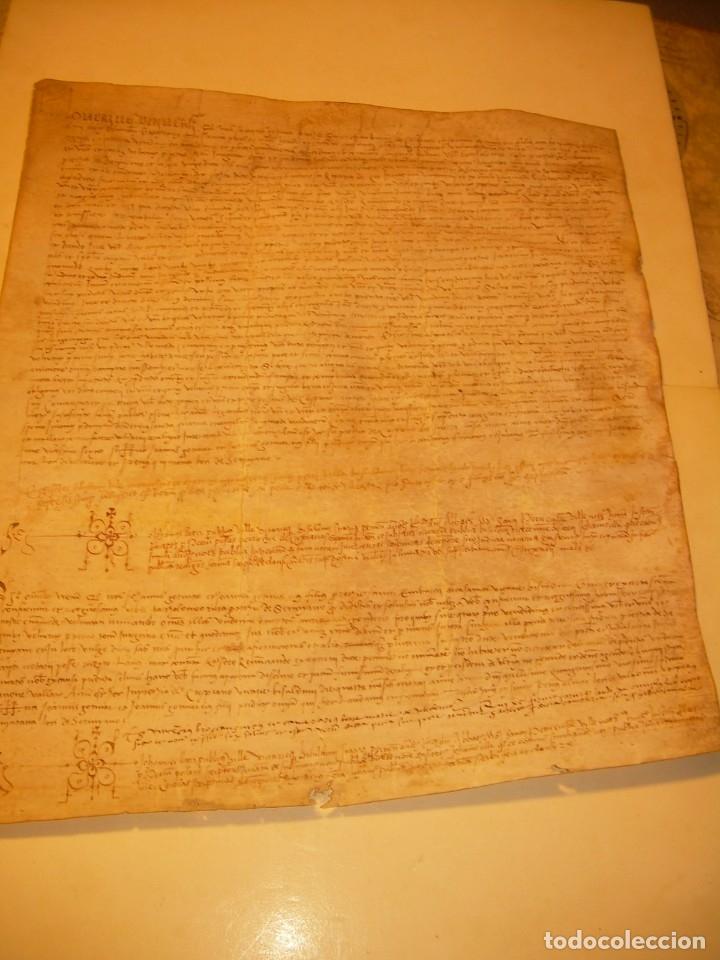 ANTIGUA ESCRITURA DE PERGAMINO SIGLO XVI....AÑO 1.527...SERINYA (GIRONA). (Coleccionismo - Documentos - Manuscritos)