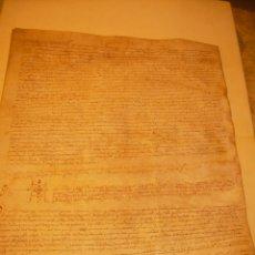 Manuscritos antiguos: ANTIGUA ESCRITURA DE PERGAMINO SIGLO XVI....AÑO 1.527...SERINYA (GIRONA).. Lote 178962616