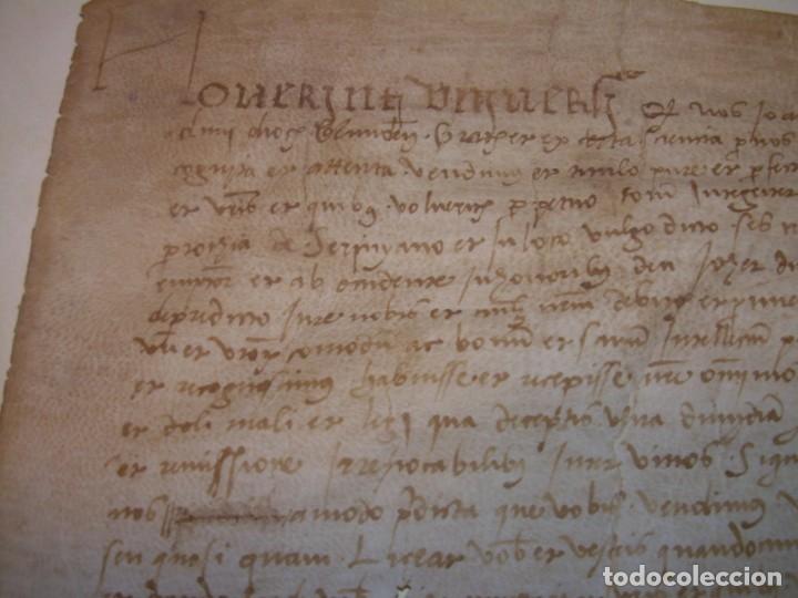 Manuscritos antiguos: ANTIGUA ESCRITURA DE PERGAMINO SIGLO XVI....AÑO 1.527...SERINYA (GIRONA). - Foto 3 - 178962616