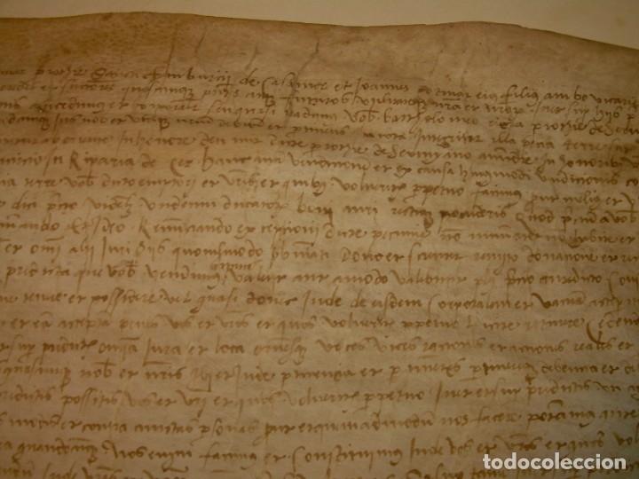 Manuscritos antiguos: ANTIGUA ESCRITURA DE PERGAMINO SIGLO XVI....AÑO 1.527...SERINYA (GIRONA). - Foto 4 - 178962616