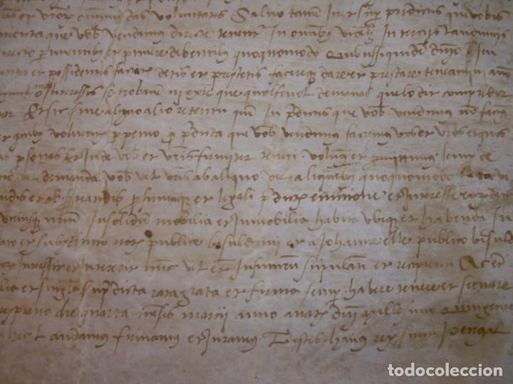 Manuscritos antiguos: ANTIGUA ESCRITURA DE PERGAMINO SIGLO XVI....AÑO 1.527...SERINYA (GIRONA). - Foto 5 - 178962616