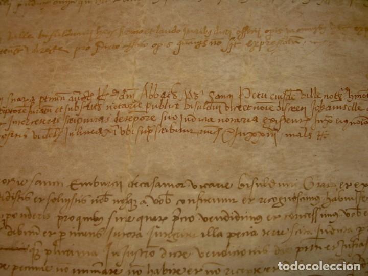 Manuscritos antiguos: ANTIGUA ESCRITURA DE PERGAMINO SIGLO XVI....AÑO 1.527...SERINYA (GIRONA). - Foto 7 - 178962616