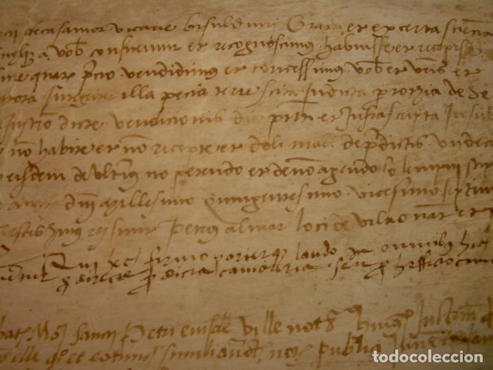 Manuscritos antiguos: ANTIGUA ESCRITURA DE PERGAMINO SIGLO XVI....AÑO 1.527...SERINYA (GIRONA). - Foto 10 - 178962616