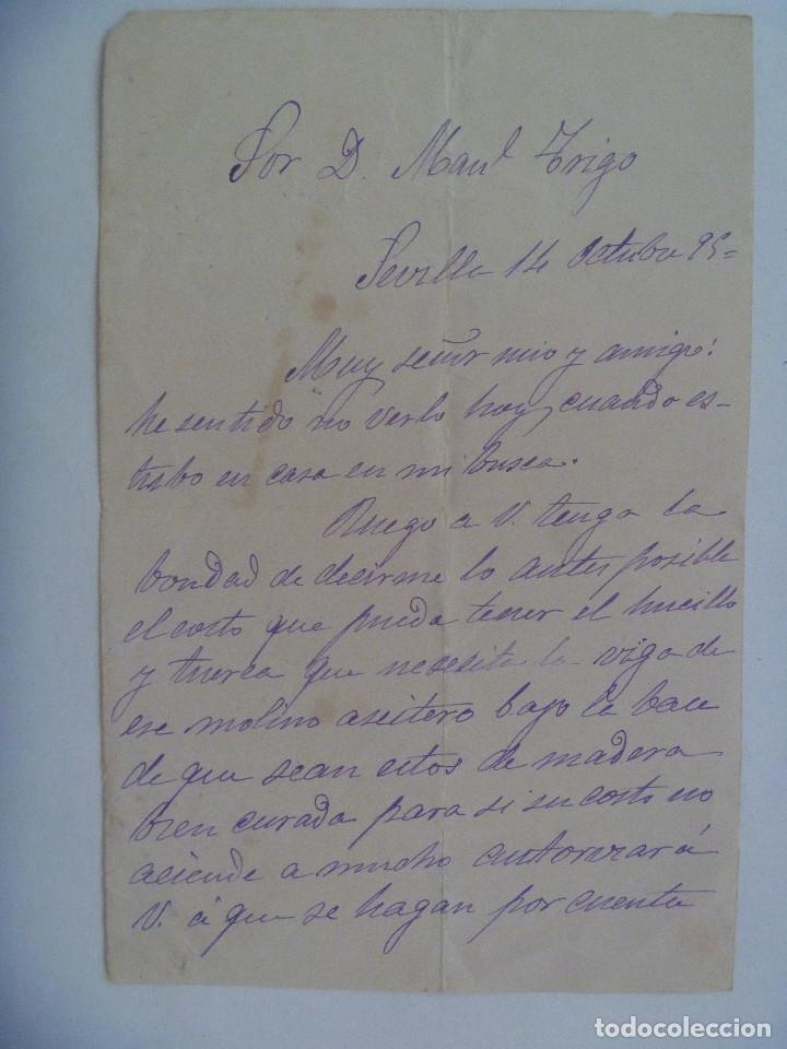 CARTA MANUSCRITA DE 1895 , SEVILLA . SIGLO XIX (Coleccionismo - Documentos - Manuscritos)