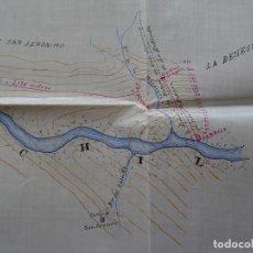 Manuscritos antiguos: GRANADA, DEHESA DE LOS JERÓNIMOS, 1907, PLANO MANUSCRITO, FÁBRICA. Lote 179078521