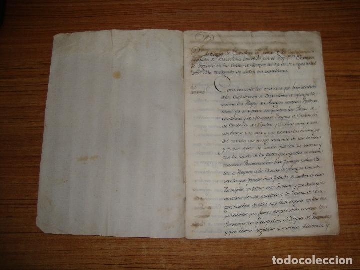 Manuscritos antiguos: PRIVILEGIOS DE CABALLERO A FAVOR DE CIUDADANOS HONRRADOS BARCELONA FERNANDO II CORTES MONZON 1510 - Foto 4 - 179084885