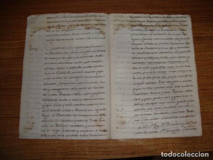 Manuscritos antiguos: PRIVILEGIOS DE CABALLERO A FAVOR DE CIUDADANOS HONRRADOS BARCELONA FERNANDO II CORTES MONZON 1510 - Foto 5 - 179084885