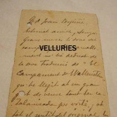 Manuscritos antiguos: TARJETÓN MANUSCRITO JOAN MARAGALL A JOAN PERPINYÀ. 22 ABRIL 1911, 13,5 X 9 CM. Lote 179086372