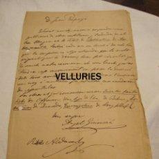 Manuscritos antiguos: CARTA MANUSCRITA DE ANGEL GUIMERA Y PERE ALDAVERT A JOAN PERPINYA. 29 SEPTIEMBRE 1871?. Lote 179087093