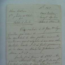 Manuscritos antiguos: CARTA MANUSCRITA ADMINISTRACION ESTADO: RECIBO POR ALQUILERES. ALCALA DE GUADAIRA, 1886 . SIGLO XIX. Lote 179099830