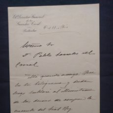Manuscritos antiguos: CARTA MANUSCRITA. ANTONIO DABÁN DIRECTOR GENERAL DE LA GUARDIA CIVIL. GONZÁLEZ DEL CORRAL. 1900.. Lote 179126540