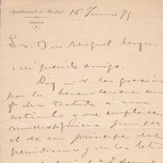 Manuscritos antiguos: R. GINARD DE LA ROSA. CARTA MANUSCRITA DE AGRADECIMIENTO, FIRMADA Y DATADA EN 1895. Lote 179145081