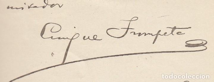 ENRIQUE TROMPETA. CARTA MANUSCRITA, FIRMADA Y DATADA EN 1911, DIRIGIDA A MIGUEL MOYA. (Coleccionismo - Documentos - Manuscritos)