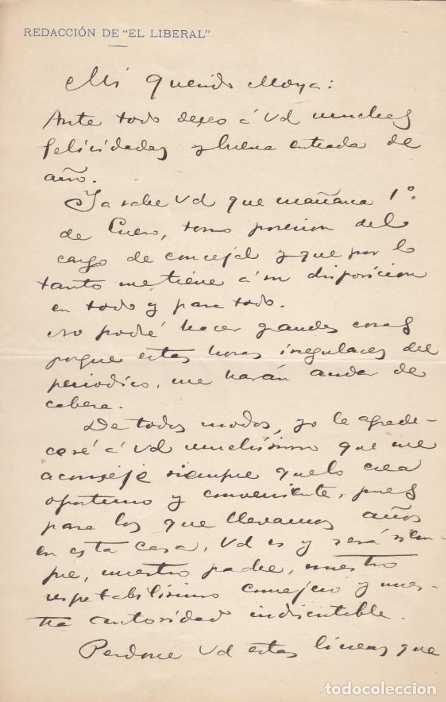 Manuscritos antiguos: ENRIQUE TROMPETA. Carta manuscrita, firmada y datada en 1911, dirigida a Miguel Moya. - Foto 2 - 179145532
