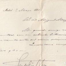 Manuscritos antiguos: EUSEBIO BLASCO. CARTA MANUSCRITA, FIRMADA Y RUBRICADA, DATADA EN 1881.. Lote 179154302