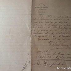 Manuscritos antiguos: RECIBO DE AYUDA POR TERREMOTO EN ALHAMA- GRANADA AÑO 1.885. Lote 180134601