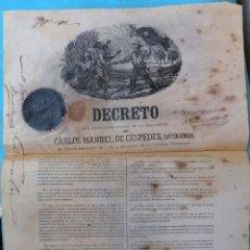 Manuscritos antiguos: DOCUMENTO ESCLAVOS, DECRETO ABOLICION ESCLAVITUD, CUBA 1868, FIRMADO CARLOS MANUEL DE CESPEDES. Lote 180180355