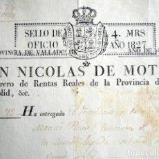 Manuscritos antiguos: AÑO 1827. SELLO DE OFICIO. 4 MARAVEDIS. IMPRESO SOBRE PAPEL IMPRESO. VALLADOLID. FERNANDO VII. . Lote 180493102