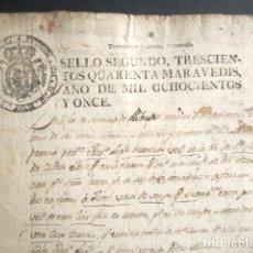 Manuscritos antiguos: AÑO 1811. PAPEL TIMBRADO GALICIA. SELLO 2º DE 340 MARAVEDIS. GALICIA NO RECONOCE EMPERADOR FRANCÉS. . Lote 180493816