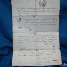 Manuscritos antiguos: ESCRITURA DE COMPRA EN SESTRICA , PUEBLO DE ZARAGOZA EN 1851. Lote 180505535