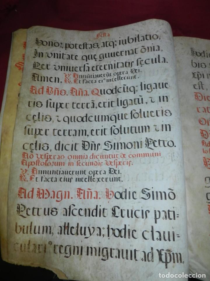 Manuscritos antiguos: (M) PERGAMINOS CANTORAL S.XVI PLIEGO DE 12 PÁG, GRAN TAMAÑO 66X48 CM - Foto 7 - 180922741