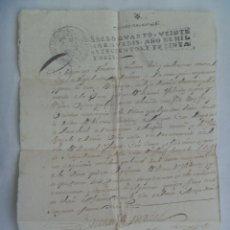 Manuscritos antiguos: DOCUMENTO MANUSCRITO CON SELLO DE QUARTO VEINTE MARAVEDIES. SEPULVEDA 1736 , SIGLO XVIII. Lote 181218747