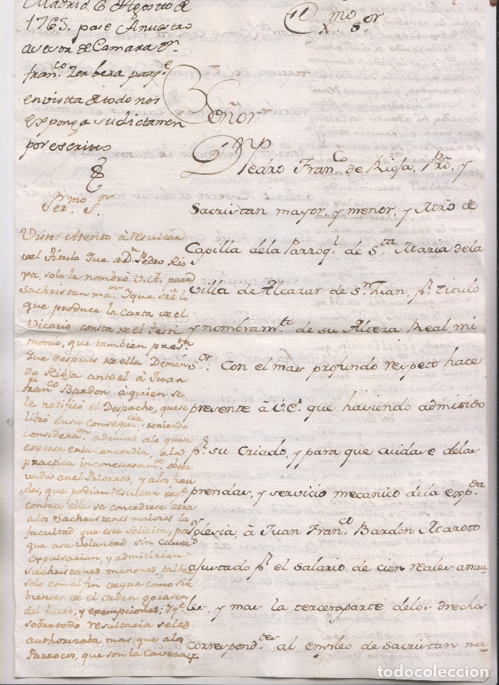 Manuscritos antiguos: PAPELES DE PEDRO FRANCISCO DE RIOJA, SACRISTÁN MAYOR DE SANTA MARÍA DE ALCÁZAR DE SAN JUAN, C. REAL - Foto 2 - 181435960