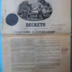 Manuscritos antiguos: DOCUMENTO ESCLAVOS, DECRETO ABOLICION ESCLAVITUD, CUBA 1868, FIRMADO CARLOS MANUEL DE CESPEDES. Lote 181581317