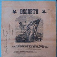 Manuscritos antiguos: DOCUMENTO ESCLAVOS, DECRETO ABOLICION ESCLAVITUD, CUBA 1869, VER FIRMAS, ASAMBLEA REPRESENTANTES. Lote 181582381
