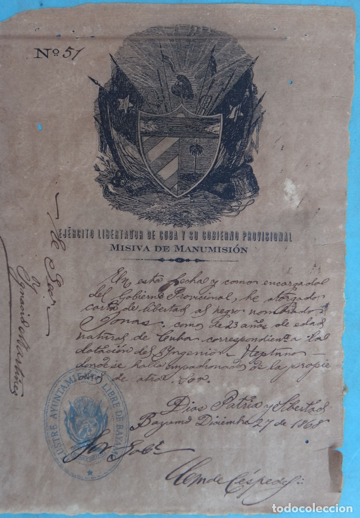 Manuscritos antiguos: 2 DOCUMENTOS ESCLAVOS, CARTA DE LIBERTAD Y CEDULA DEL MISMO ESCLAVO FIRMA MANUEL DE CESPEDES CUBA - Foto 2 - 181584623