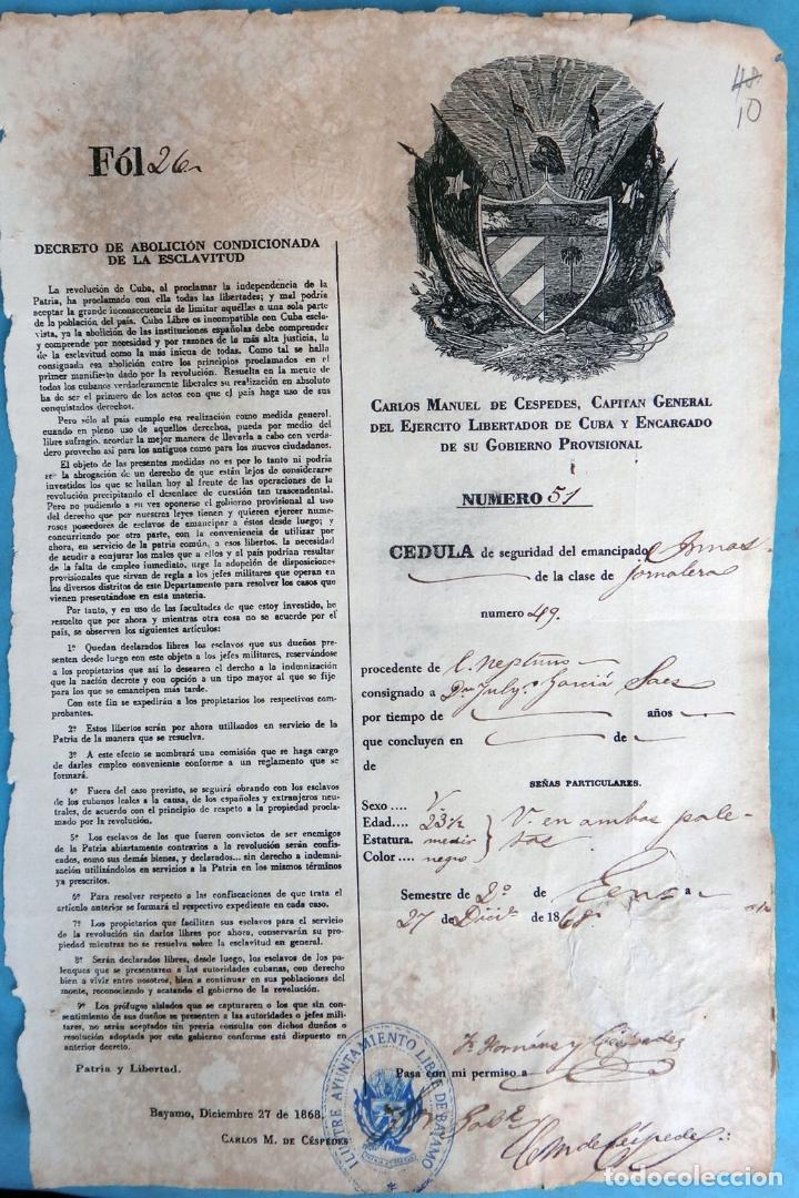 Manuscritos antiguos: 2 DOCUMENTOS ESCLAVOS, CARTA DE LIBERTAD Y CEDULA DEL MISMO ESCLAVO FIRMA MANUEL DE CESPEDES CUBA - Foto 5 - 181584623