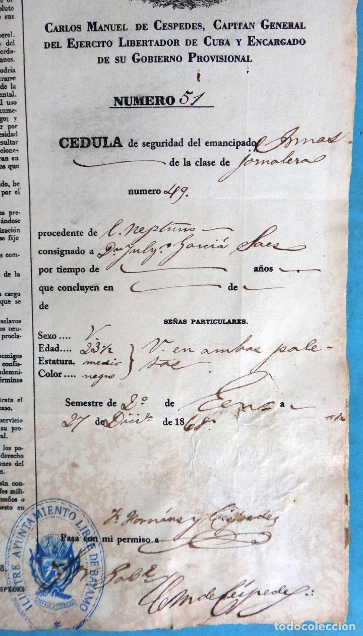 Manuscritos antiguos: 2 DOCUMENTOS ESCLAVOS, CARTA DE LIBERTAD Y CEDULA DEL MISMO ESCLAVO FIRMA MANUEL DE CESPEDES CUBA - Foto 6 - 181584623