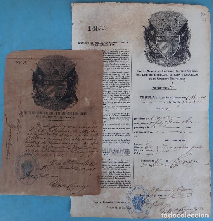 2 DOCUMENTOS ESCLAVOS, CARTA DE LIBERTAD Y CEDULA DEL MISMO ESCLAVO FIRMA MANUEL DE CESPEDES CUBA (Coleccionismo - Documentos - Manuscritos)