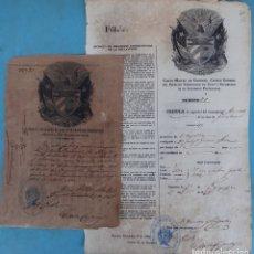 Manuscritos antiguos: 2 DOCUMENTOS ESCLAVOS, CARTA DE LIBERTAD Y CEDULA DEL MISMO ESCLAVO FIRMA MANUEL DE CESPEDES CUBA. Lote 181584623