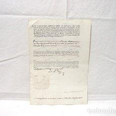 Manuscritos antiguos: 1829-TITULO GRADUACION INTENDENTE MARINA-FIRMA MANUSCRITA REY FERNANDO VII-LUIS. Mª SALAZAR MINISTRO. Lote 181718355