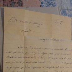Manuscritos antiguos: ANTIGUA CARTA MANUSCRITA DIRIGIDA A MATEO DE MURGA.FIRMADA MONTOYA.ZARAGOZA 1853. Lote 181795411