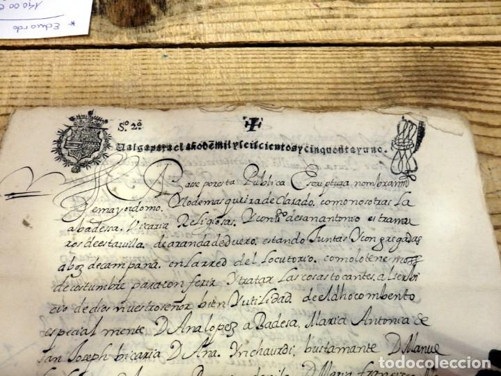 Manuscritos antiguos: ARANDA DE DUERO,1651, LICENCIA CONCEDIDA A ADMINISTRADOR CONVENTO DE SAN ANTONIO, TIMBROLOGIA - Foto 2 - 182243906