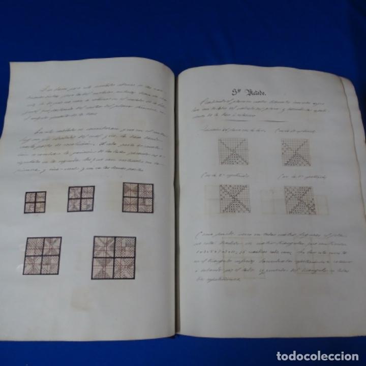 Manuscritos antiguos: Libro Manuscrito s.xix.teoria de los tejidos.obra excepcional de años de trabajo. - Foto 8 - 182331086