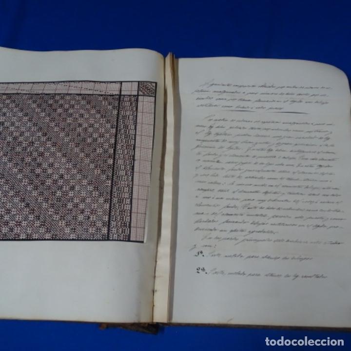 Manuscritos antiguos: Libro Manuscrito s.xix.teoria de los tejidos.obra excepcional de años de trabajo. - Foto 33 - 182331086