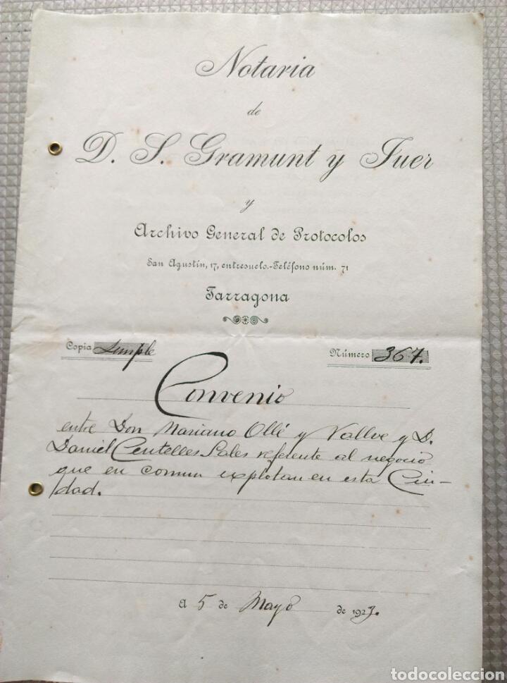 MANUSCRITO NOTARIA GRAMUNT Y FUER ARCHIVO GENERAL DE PROTOCOLOS TARRAGONA CONVENIO 1923 (Coleccionismo - Documentos - Manuscritos)