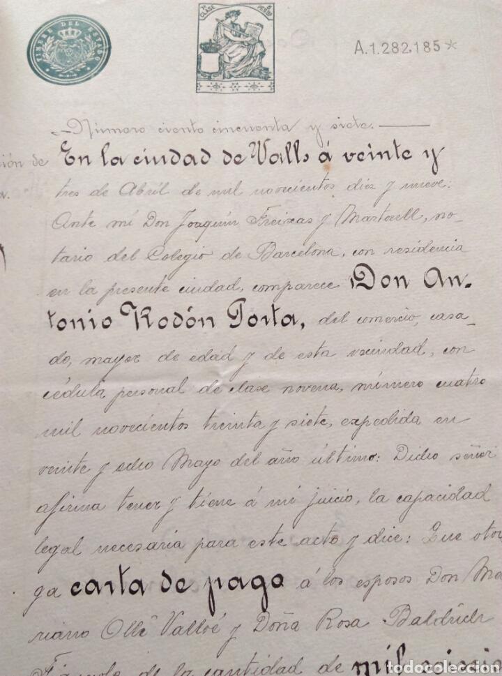 Manuscritos antiguos: Antiguo documento manuscrito escritura Valls Tarragona 23 abril 1919 JOAQUIN FREIXAS Y MARTORELL - Foto 2 - 182478326