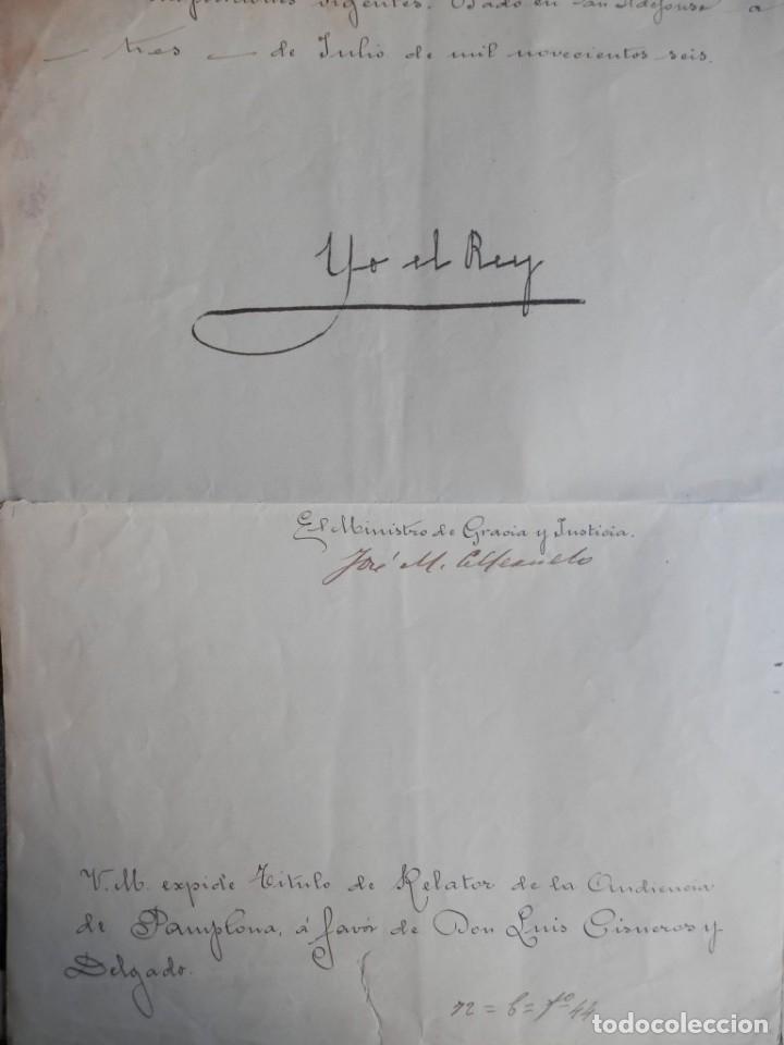 FIRMA REY ALFONSO XIII MANUSCRITO AÑO 1906 NOMBRAMIENTO RELATOR AUDIENCIA PAMPLONA (Coleccionismo - Documentos - Manuscritos)
