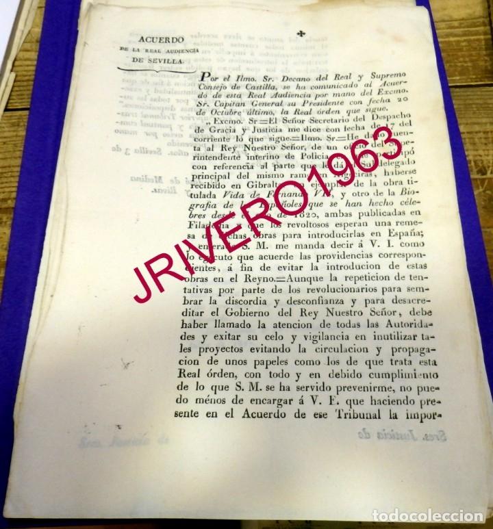 1827, CENSURA, PROHIBICION ENTRADA LIBRO POR GIBRALTAR SOBRE FERNANDO VII, MUY RARO (Coleccionismo - Documentos - Manuscritos)