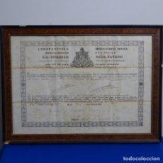 Manuscritos antiguos: MANUSCRITO DE 1857 ENMARCADO CONSTANTINUS MISERATIONE DIVINA.. Lote 182911293