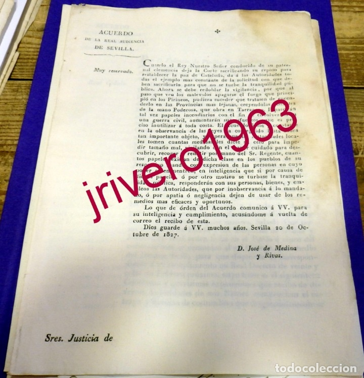 1827, FERNANDO VII, ACUERDO PARA EVITAR PROPAGANDA SUBVERSIVA TRAS LOS HECHOS DE TARRAGONA (Coleccionismo - Documentos - Manuscritos)