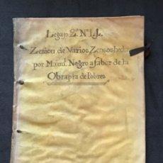Manuscritos antiguos: MANUSCRITO OBRAPIA DE POBRES TORRELABATON VALLADOLID 1775 TAPAS DE PERGAMINO. VER FOTOS.. Lote 183298227