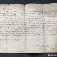 Manuscritos antiguos: MANUSCRITO EN CATALAN Y LATIN CASTELLÓN DE AMPURIAS GIRONA AMONESTACIÓNES 1651.. Lote 183448725