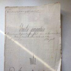 Manuscritos antiguos: ESCRITURA VENTA PERPETUA 1879. Lote 183558748