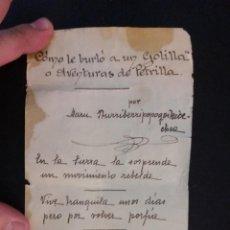 Manuscritos antiguos: 1938- GUERRA CIVIL - POEMA SATÍRICO MANUSCRITO (UN METRO DE POEMA). Lote 183808125